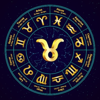 Signe de l'or du zodiaque taureau en cercle