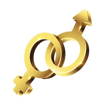 Signe d'or symbole de l'homme et la femme ensemble. illustration d'icône isolé sur fond blanc.