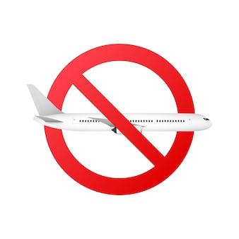Signe orbidden avec l'icône de glyphe d'avion. arrêtez le symbole de la silhouette. illustration vectorielle.