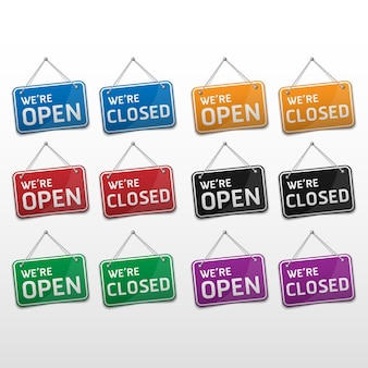 Signe ouvert et fermé avec ombre isolé sur fond blanc, illustration vectorielle