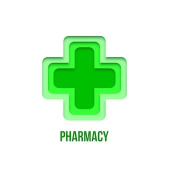 Signe de pharmacie vert isolé sur fond blanc