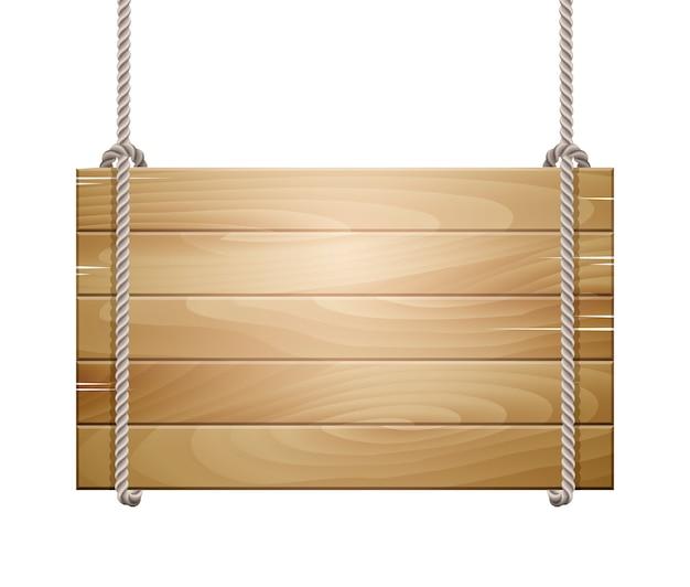 Signe de planche de bois suspendu à une corde