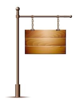 Signe de planche de bois vide suspendu à une chaîne