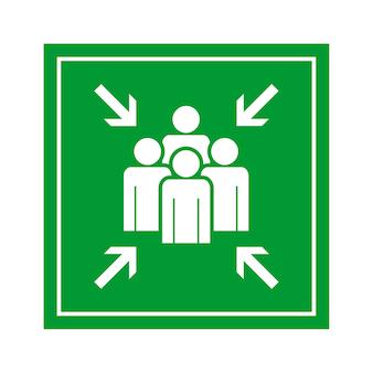 Signe de point d'assemblage évacuation d'urgence vert