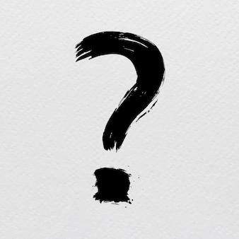 Signe de point d'interrogation coup de pinceau vecteur de typographie de style poubelle