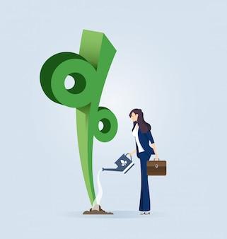 Signe de pourcentage croissant de femme d'affaires