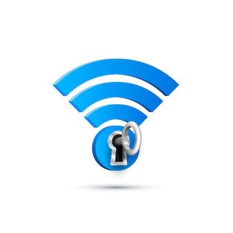 Signe de protection de clé wifi sur blanc