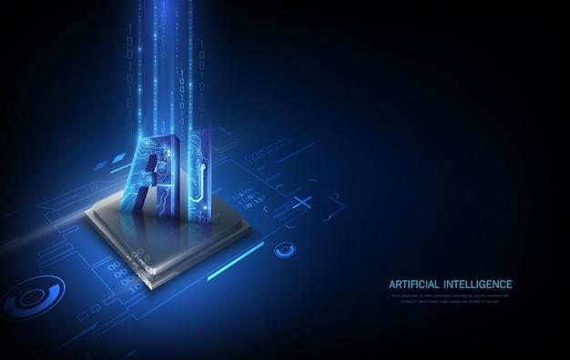 Signe de puce de carte esim. concept sim intégré. nouvelle technologie de communication mobile et illustration vectorielle de carte de circuit imprimé de fond de processeur