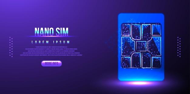 Signe de puce de carte sim. concept sim intégré. nouvelle technologie de communication mobile. carte sim de projection futuriste