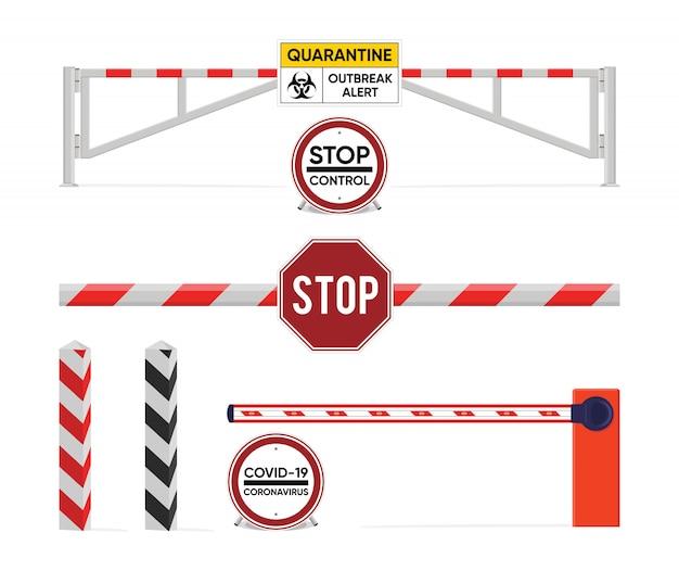 Signe de quarantaine. ferme la barrière. la prévention de la quarantaine épidémique. maladie du coronavirus. panneau d'alerte covid-2019.