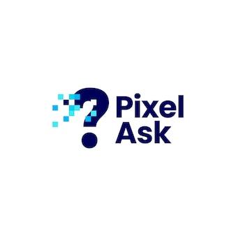 Signe de question pixel mark digital 8 bits logo vector icon illustration