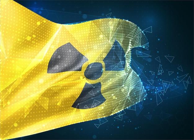 Signe de rayonnement sur fond jaune dans un drapeau vectoriel 3d, objet 3d abstrait virtuel à partir de polygones triangulaires sur fond bleu