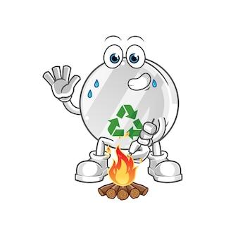 Signe de recyclage illustration de personnage de guimauves rôties