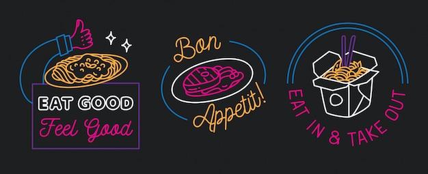 Signe de restaurant en vecteur de style de ligne