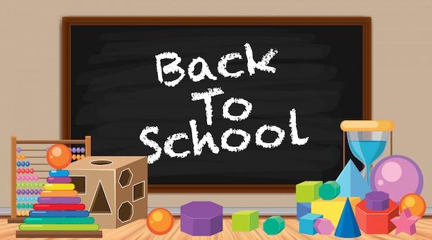 Signe de retour à l'école avec beaucoup de jouets