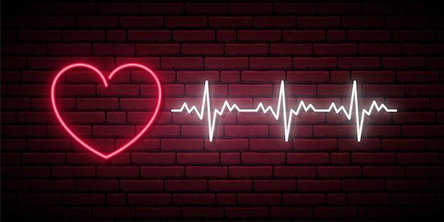 Signe de rythme cardiaque au néon.