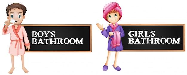 Signe de salle de bains pour garçon et fille
