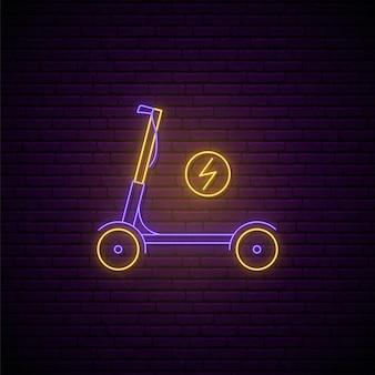 Signe de scooter électrique au néon