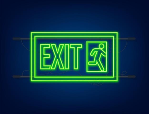 Signe de sortie de secours. symbole de protection. icône de feu. style néon. illustration vectorielle.