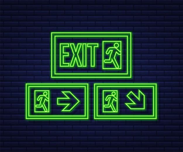 Signe de sortie de secours. symbole de protection. icône de néon de feu