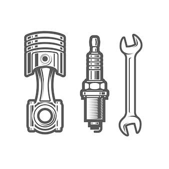 Signe de station-service de voiture, bougie d'allumage, piston et clé, illustration de l'atelier d'entretien