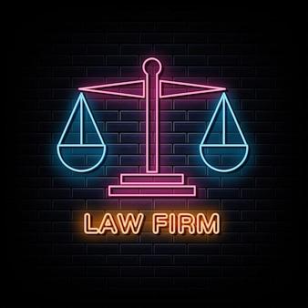 Signe et symbole au néon de logo de néon de cabinet d'avocats