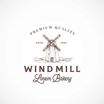 Signe, symbole ou logo abstrait de boulangerie moulin à vent