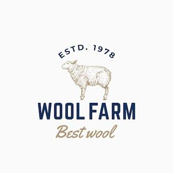 Signe, symbole ou logo abstrait de ferme de laine