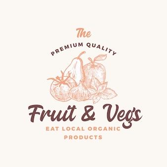 Signe, symbole ou logo abstrait de fruits et légumes locaux de qualité supérieure