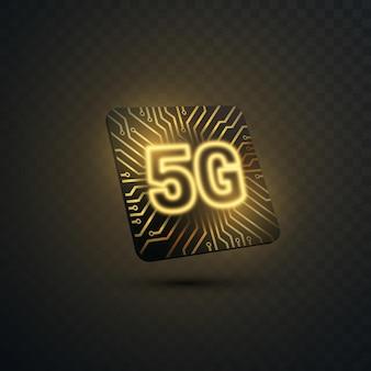 Signe de la technologie 5g avec puce et texture de circuit imprimé isolé sur fond transparent