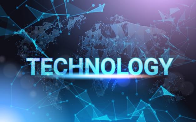 Signe de la technologie moderne sur filaire futuriste low poly mesh wire