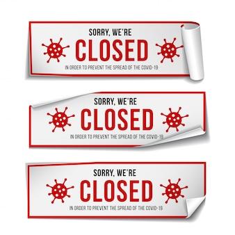 Signe temporairement fermé des nouvelles du coronavirus. ensemble de panneau d'avertissement d'informations sur la quarantaine