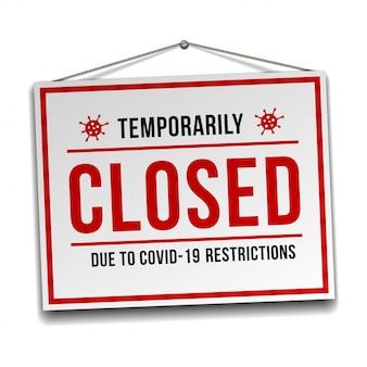 Signe temporairement fermé des nouvelles du coronavirus. panneau d'avertissement d'informations sur la quarantaine