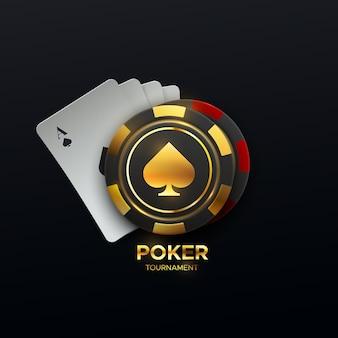 Signe de tournoi de poker avec des cartes à jouer et des jetons de jeu