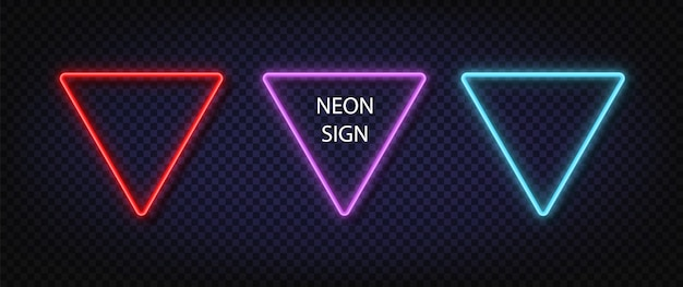 Signe triangulaire au néon. vecteur de couleur rougeoyante définie carré néon réaliste. des lampes à led ou halogènes brillantes encadrent des bannières.