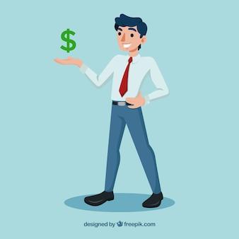 Signe vendeur et dollar