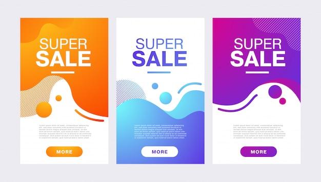 Signe de vente avec une composition géométrique abstraite avec des formes liquides.
