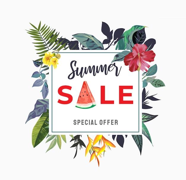Signe de vente d'été avec illustration de fleurs tropicales