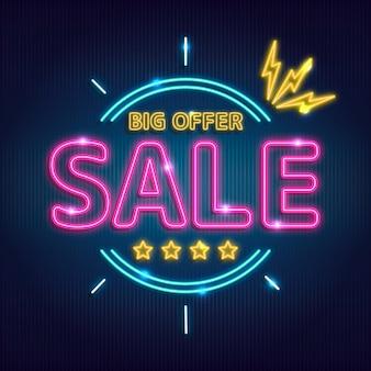 Signe de vente de grande offre au néon