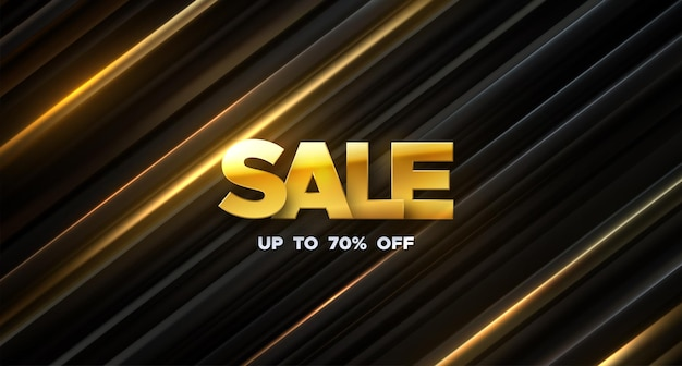 Signe de vente d'or sur fond noir et or incliné en couches