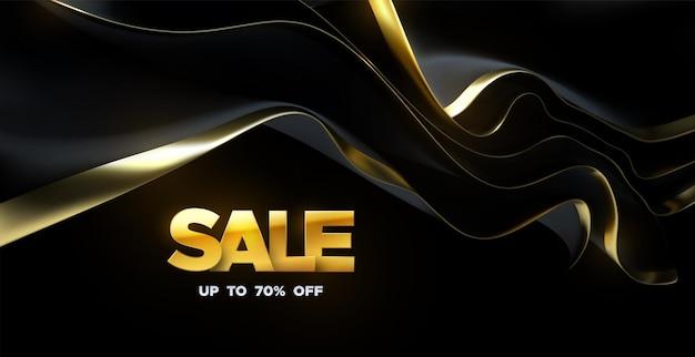 Signe de vente d'or avec le tissu en streaming noir et or