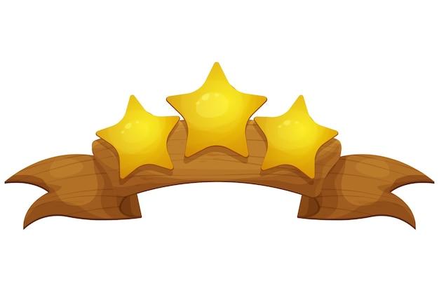 Signe de victoire de bannière de ruban en bois avec bande dessinée d'étoiles dans le style de dessin animé