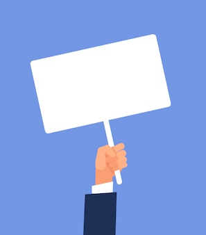 Signe vide à la main. mains tenant une affiche de protestation vierge. illustration vectorielle de dessin animé