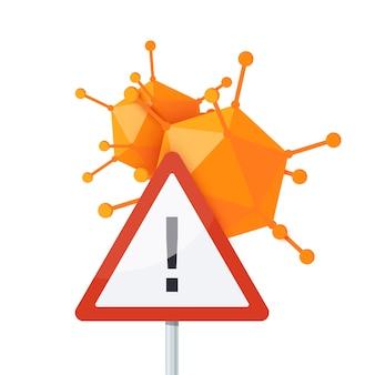 Signe de virus d'avertissement isolé sur blanc