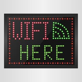 Signe de wifi ici dans un style rétro avec des ampoules led