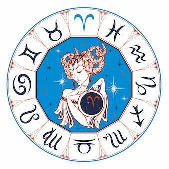 Signe zodiacal bélier comme une belle fille.