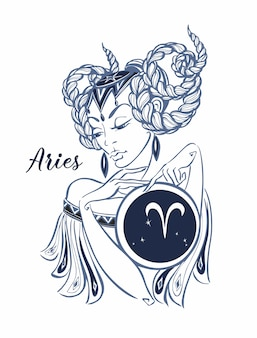 Signe zodiacal Bélier comme une belle fille. Horoscope.