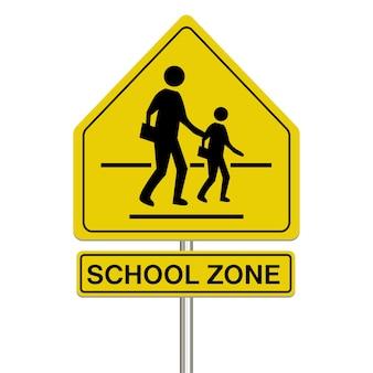 Signe de zone scolaire sur fond blanc