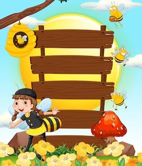 Signes et abeilles en bois