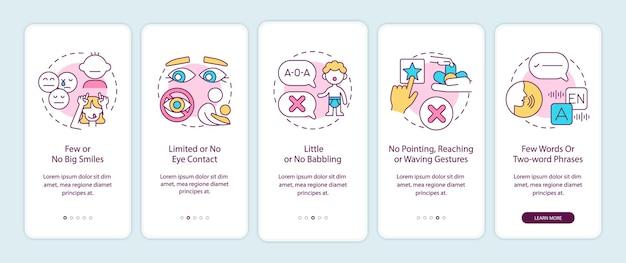 Signes d'autisme dans l'écran de la page de l'application mobile des enfants. pas de grands sourires, pas de contact visuel avec des instructions graphiques en 5 étapes avec des concepts. modèle vectoriel ui, ux, gui avec illustrations en couleurs linéaires
